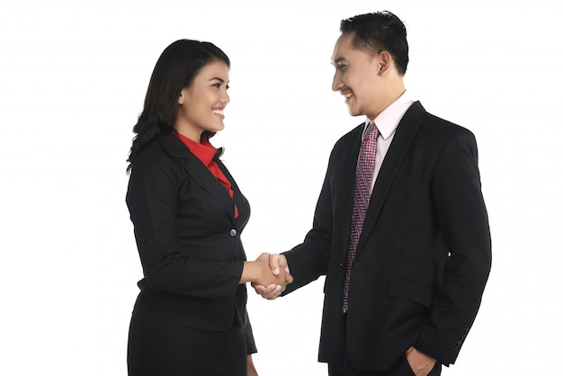 Geschäftsmann und frau rütteln hand Premium Fotos
