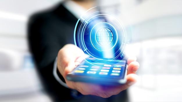 Geschäftsmann unter verwendung eines smartphone mit einem technologischen kugelknopf shinny Premium Fotos