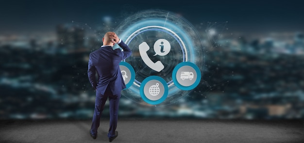 Geschäftsmann vor einer wiedergabe des kunden- und unterstützungshotlineservices 3d Premium Fotos