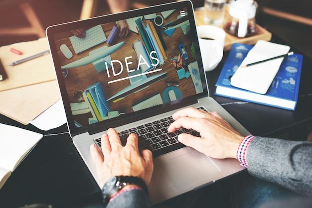 Geschäftsmann-working ideas-kreatives arbeitsplatz-konzept Premium Fotos
