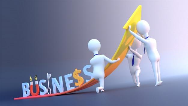 Geschäftswachstumskonzept mit kreativem geschäftstext und geschäftsleuten. Premium Fotos