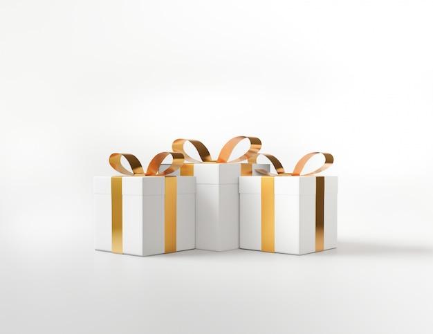 Geschenkbox des weißen quadrats und metallisches goldenes bogenbandkonzept Premium Fotos