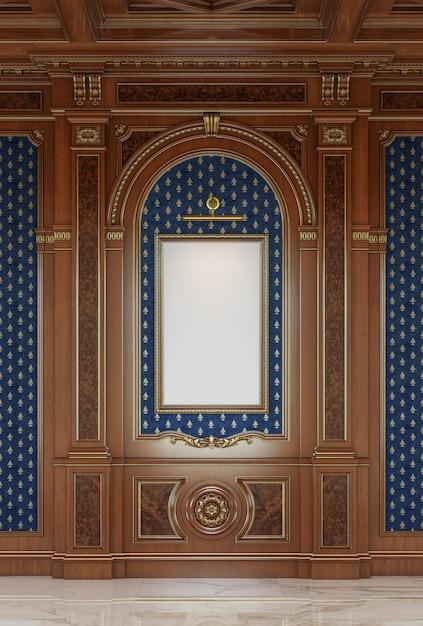 Geschnitzte holztafeln im klassischen stil mit bilderrahmen. Premium Fotos