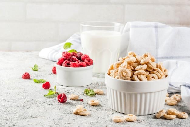 Gesunde frühstückszutaten. frühstücksflocken-maisringe, milch- oder joghurtglas, himbeeren und minze Premium Fotos
