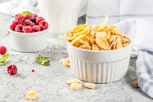 Gesunde frühstückszutaten. frühstückskost aus getreide blättert milch- oder joghurtglashimbeeren und -minze auf grauem steinhintergrund ab Premium Fotos