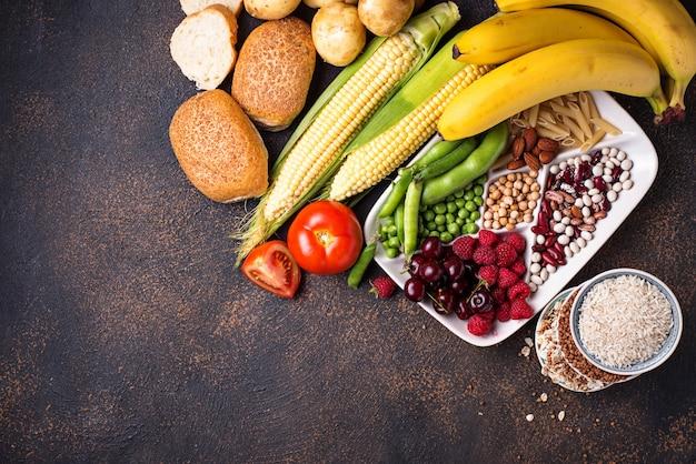 Gesunde produktquellen für kohlenhydrate. Premium Fotos