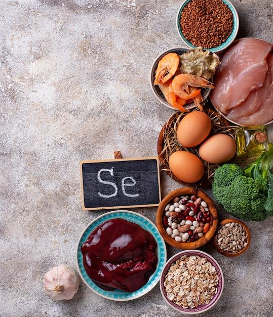 Gesunde produktquellen für selen. Premium Fotos