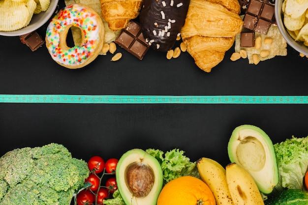 Gesundes essen gegen ungesundes essen Kostenlose Fotos