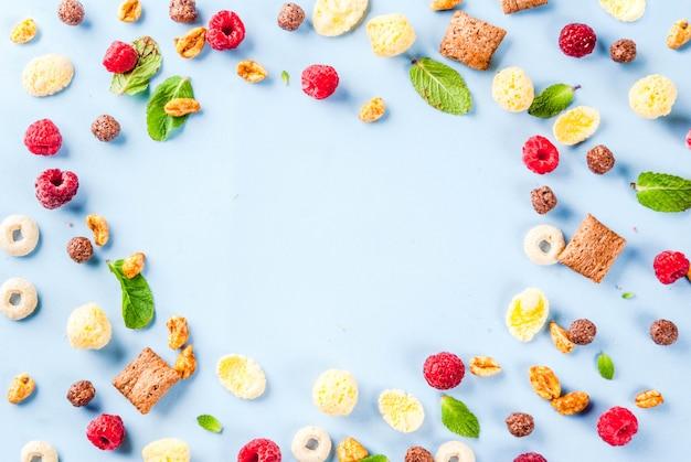 Gesundes frühstück zutaten konzept. verschiedenes frühstückskost aus getreide, himbeeren und minze auf blauem hintergrund, draufsichtrahmen des kopienraumes Premium Fotos