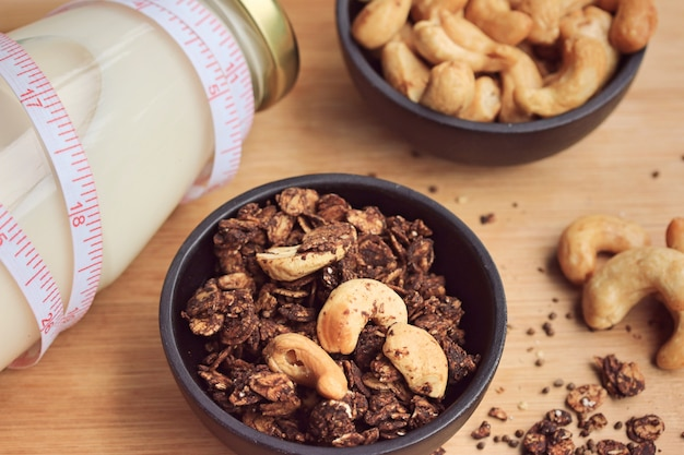Gesundes müsli mit cashew Premium Fotos