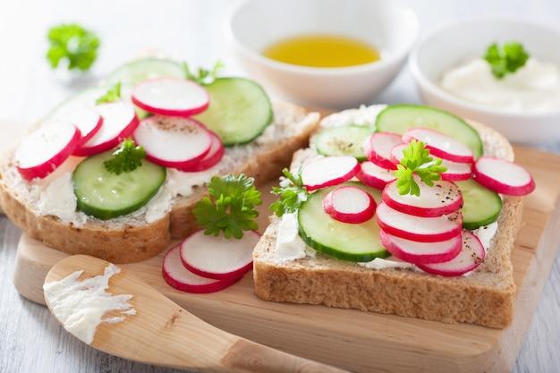 Gesundes sandwich mit radieschengurke und frischkäse Premium Fotos