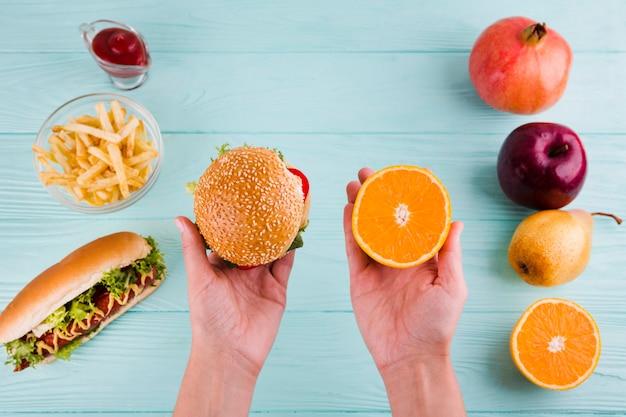 Gesundes und ungesundes essen Kostenlose Fotos