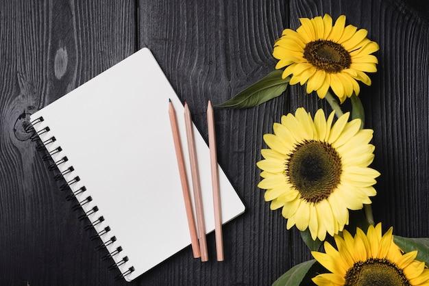 Gewundener notizblock mit drei hölzernen bleistiften mit sonnenblumen auf hölzernem schreibtisch Kostenlose Fotos