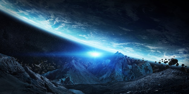Gigantische asteroiden, die kurz davor stehen, die erde zum absturz zu bringen Premium Fotos