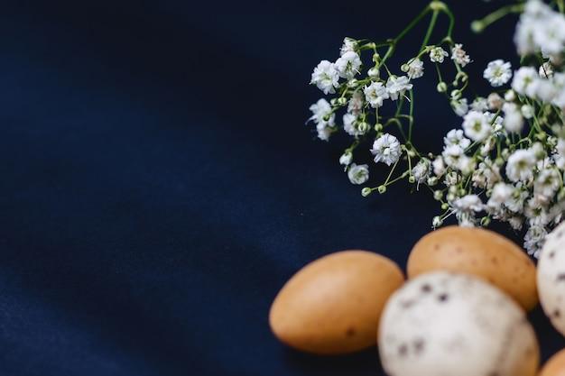 Gipsophila und kleine eier auf einfachem grauem hintergrund Premium Fotos