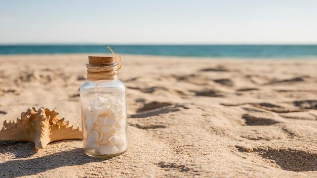 Glas mit muscheln und seestern an der küste Kostenlose Fotos