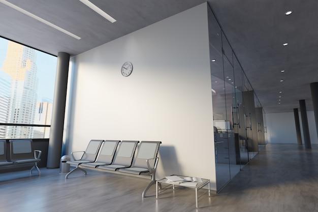 Glasbüroraum-wand-modell - wiedergabe 3d Premium Fotos