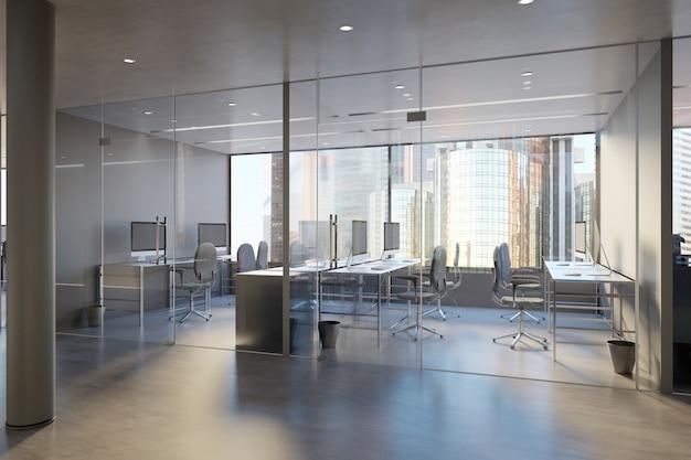Glasbüroraum-wand - wiedergabe 3d Premium Fotos