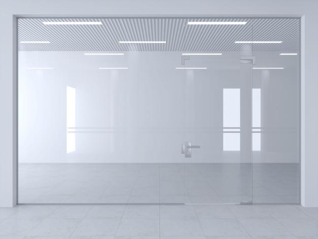 Glastrennwand und türen im büro oder in der ladenhalle. Premium Fotos