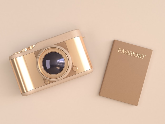 Glatte reflexion der goldkamera und brauner pass auf minimaler sahneart 3d übertragen Premium Fotos