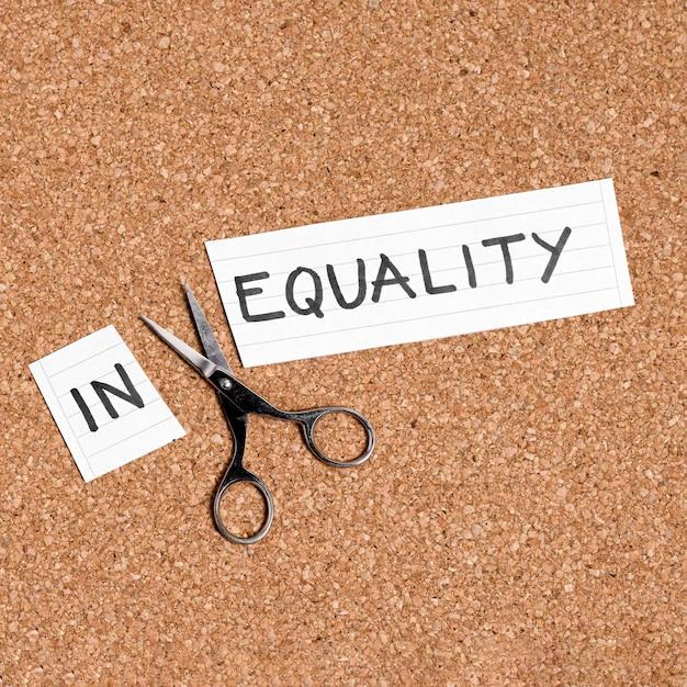 Gleichheit und ungleichheit konzept flach zu legen Kostenlose Fotos