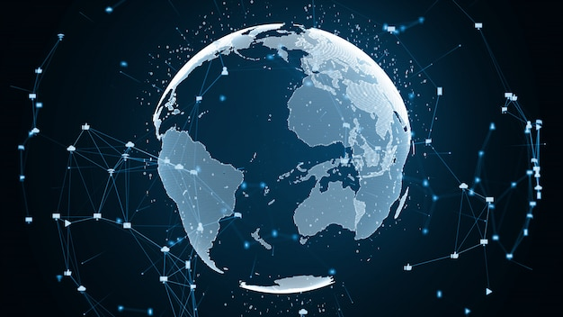 Globale netzwerkverbindung und datenverbindungskonzept. Premium Fotos