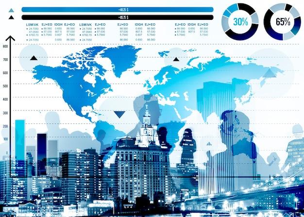 Globales geschäfts-diagramm-wachstums-weltkarte-konzept Kostenlose Fotos
