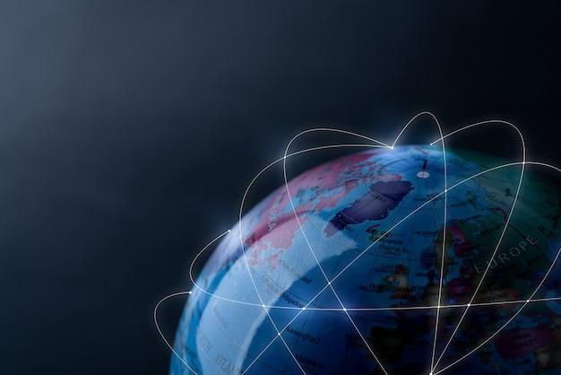 Globales netzwerk für technologie und zukunftskonzept Premium Fotos
