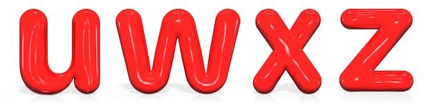 Glossy paint buchstaben u, w, x, z kleinbuchstaben der blase Premium Fotos