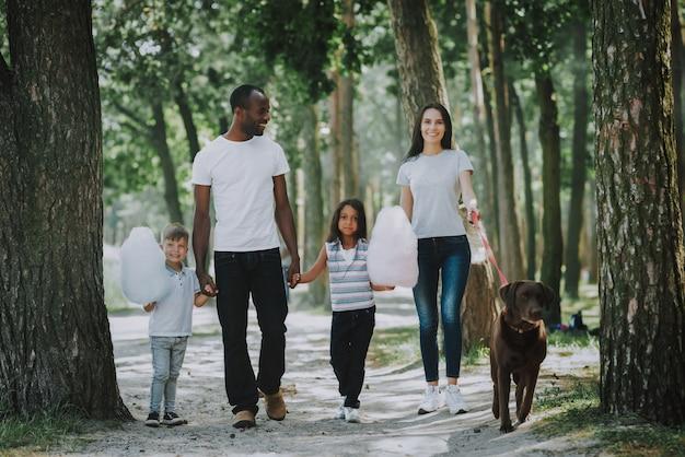 Glückliche familien- und kinderhundebesitzer, die durch park gehen Premium Fotos