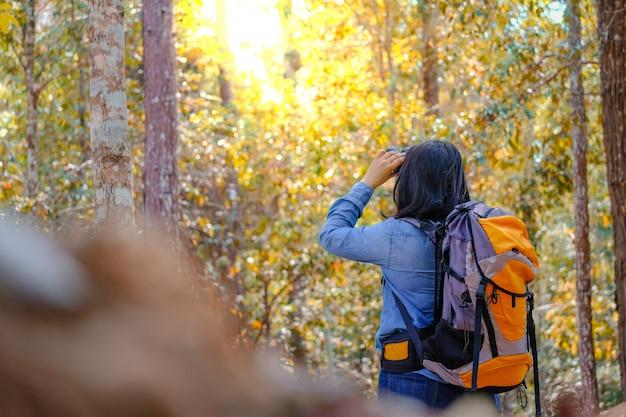 Glücklicher asiatischer mädchenrucksack im park- und waldhintergrund, entspannen sich zeit auf feiertagskonzeptreise Premium Fotos