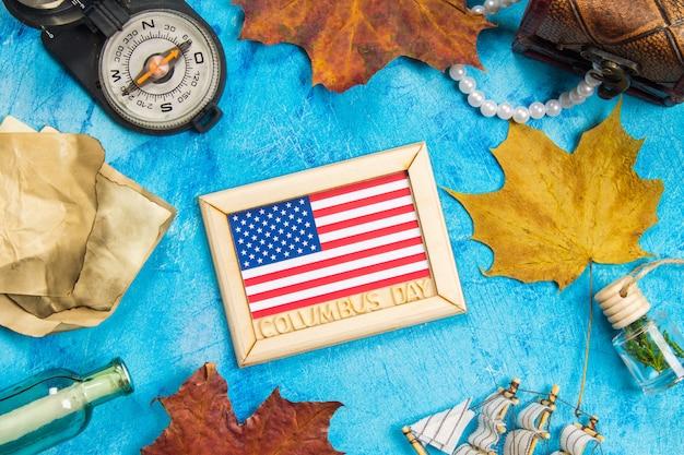 Glücklicher columbus-tagestext. konzept des us-feiertags. der entdecker amerikas. ferienstaaten Premium Fotos