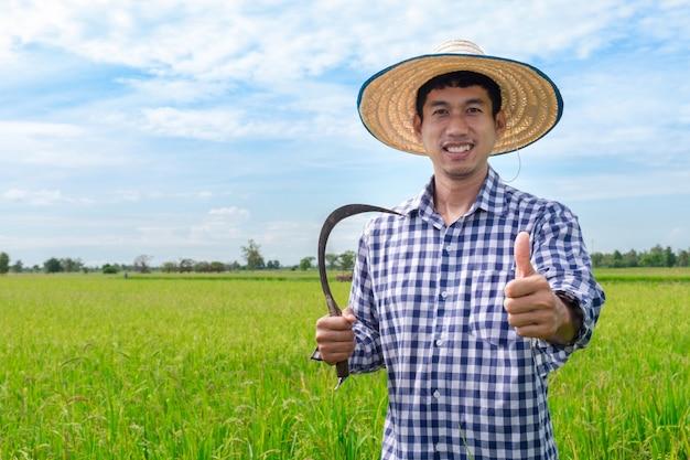 Glücklicher daumen des asiatischen jungen landwirts handhoch und sichel auf einem grünen reisgebiet und einem blauen himmel halten Premium Fotos
