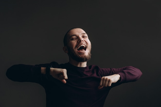 Mann Mit Bart Und Glatze