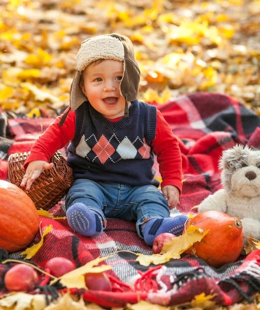 Glücklicher kleiner junge auf einer picknickdecke Kostenlose Fotos