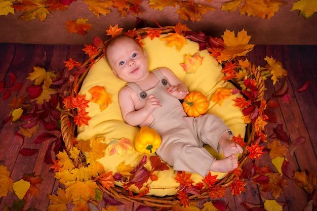 Glückliches neugeborenes, das auf herbstblättern liegt. Premium Fotos