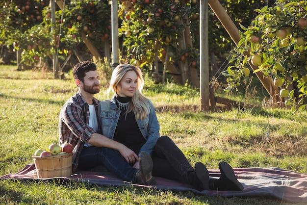 Glückliches paar, das zusammen auf einer decke im apfelgarten sitzt Kostenlose Fotos
