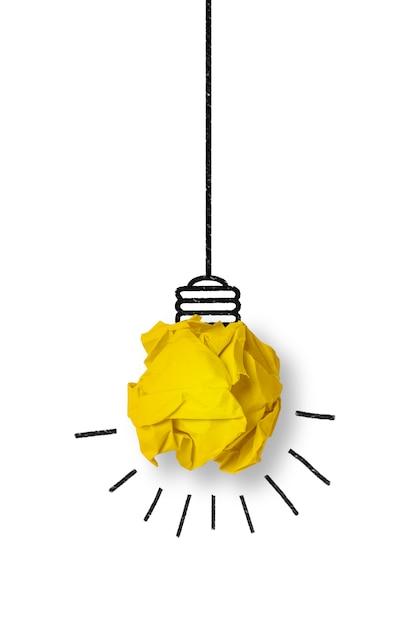 Glühbirne aus einem gelben papierkugel aus Kostenlose Fotos