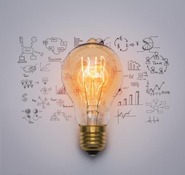 Glühbirne mit zeichnung graph Kostenlose Fotos