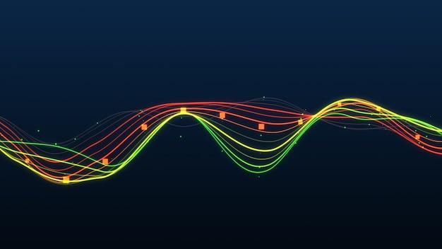 Glühende linien statistik des abstrakten diagramms. Premium Fotos
