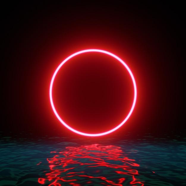 Glühende neonrote kreisringlinie mit reflexionen auf wasser, lichter, wellen abstrakter weinlesehintergrund Premium Fotos