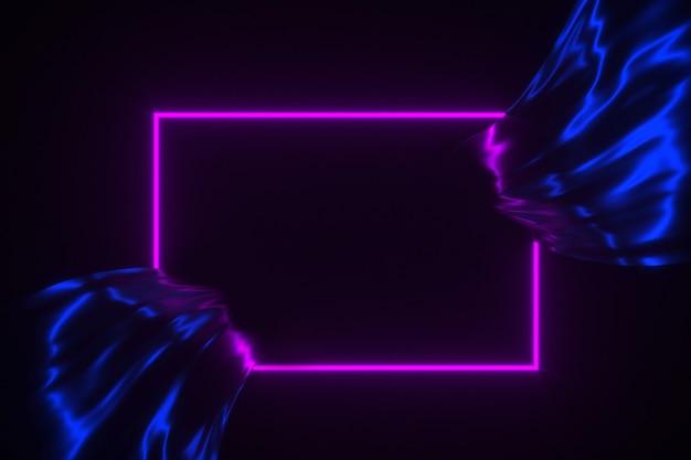 Glühender neonrahmen auf flüssiger illustration des hintergrundes 3d Premium Fotos