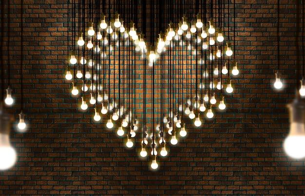 Glühlampenherz, dachbodenart, valentinsgruß und liebeskonzept. Premium Fotos