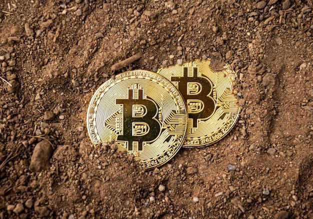 Gold bitcoin auf dem boden, mining bitcoin-konzept. Premium Fotos