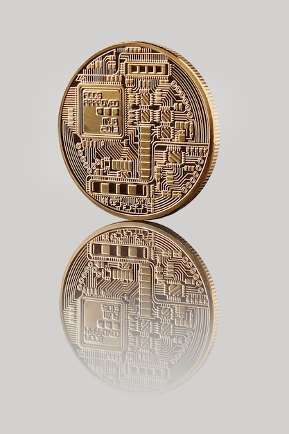 Gold bitcoin münze Premium Fotos