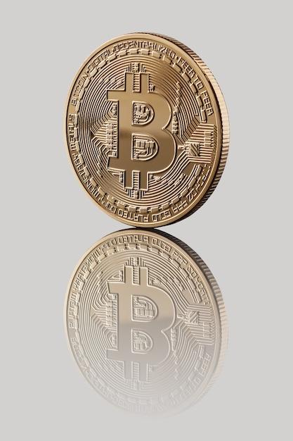 Gold bitcoin. reflexion einer münze Premium Fotos