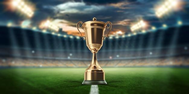 Gold cup auf dem hintergrund des stadions Premium Fotos