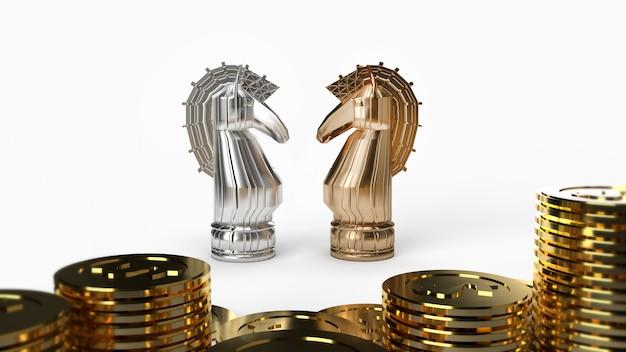 Gold & silber ritter schach und münzen 3d-rendering auf weißem hintergrund für geschäftsinhalte. Premium Fotos