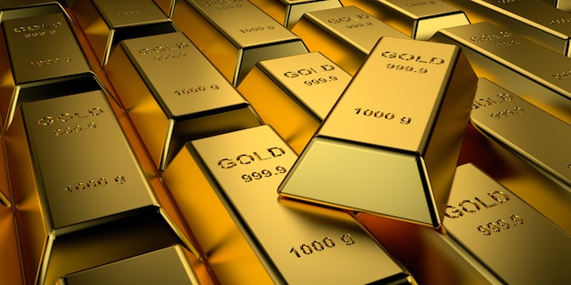 Goldbarren gestapelt. 3d-rendering. Premium Fotos