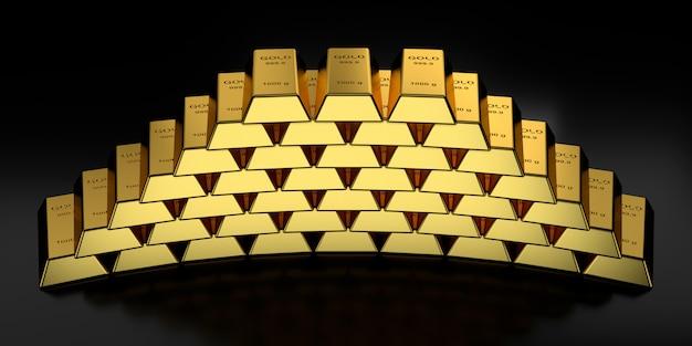 Goldbarren in der wiedergabe 3d Premium Fotos